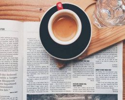 cup of tea and magazine