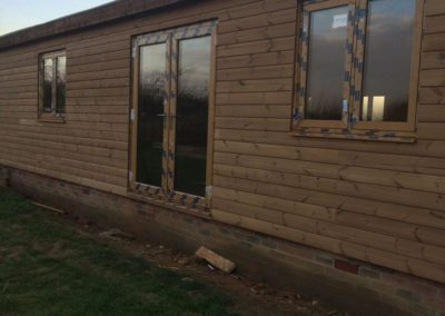 Front of new built timber house