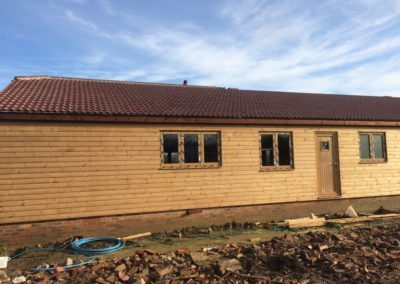 Timber house building in progress