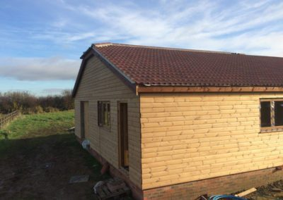 Side aspect of new timber house build