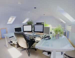 Home office built with sky lights