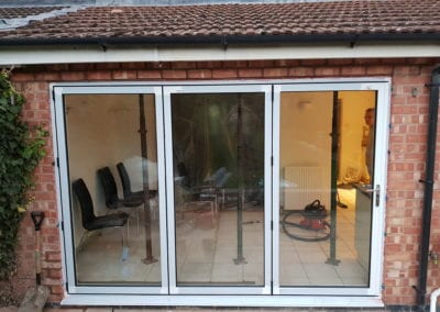 New bi-fold doors installed onto kitchen patio