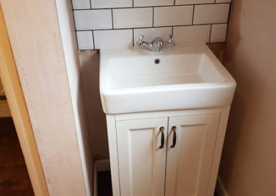 Finished bathroom sink installation