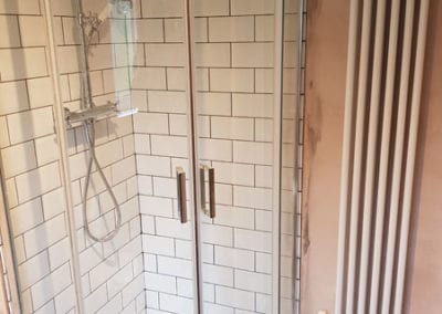 walk in shower and bathroom radiator