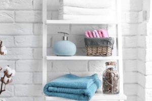 Small bathroom with storage