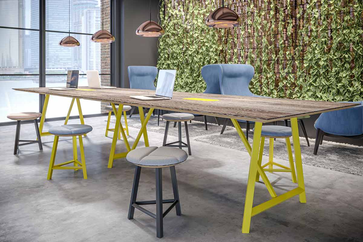 Breakout area in office with stools and chairs